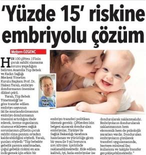 Yüzde 15 riskine embriyolu çözüm