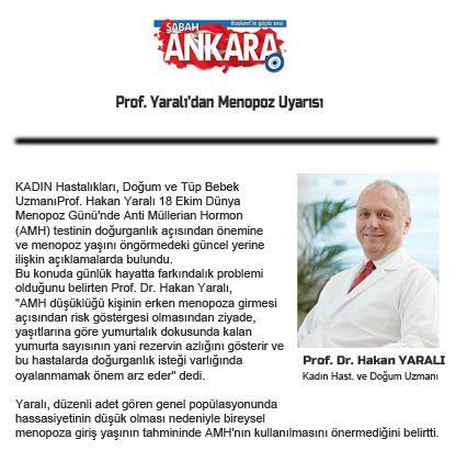 Prof. Yaralı'dan Menopoz Uyarısı