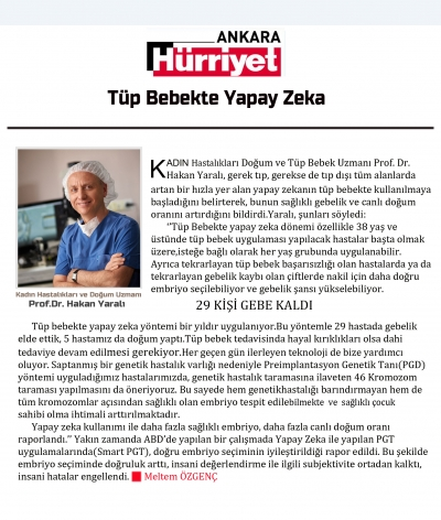 Tüp Bebekte Yapay Zeka - Hürriyet Ankara