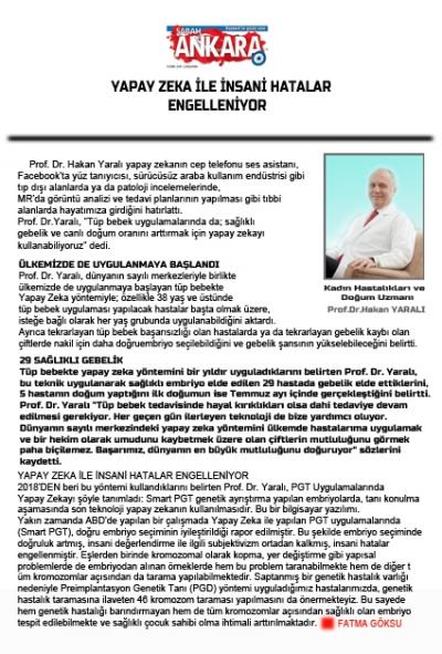 YAPAY ZEKA İLE İNSANİ HATALAR ENGELLENİYOR  - SABAH GAZETESİ - Ankara